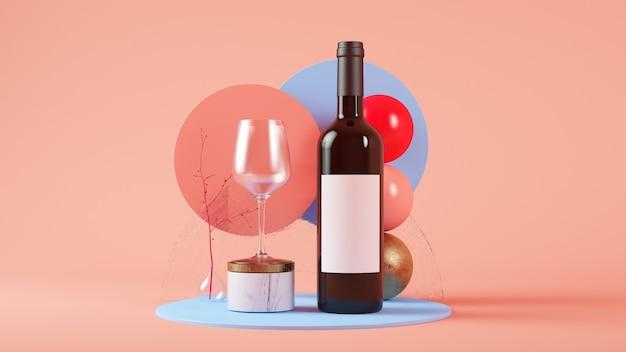 ワインボトルとガラスのモックアップ3dレンダリングモックアップ