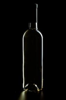 Wine bottle on a dark black