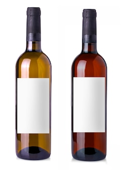 Wine bottle in glass bottle with blank label on white background
