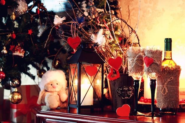 와인 병 유리 발렌타인 하트 촛불