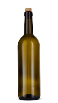 Wine bottle isolated on white background, front view