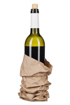 Wine and a bottle isolated over white