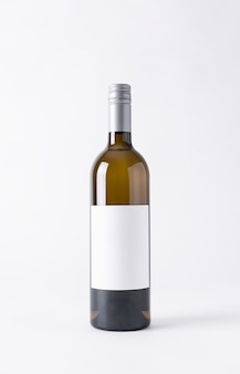 Wine bottle for mock-up. blank label on a gray background.