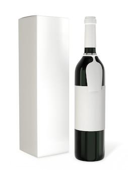 白い背景で隔離の空白のラベルとワインボトルのモックアップ