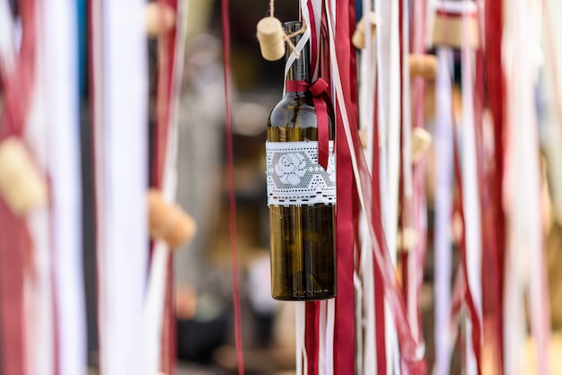 Wine bottle on a rope