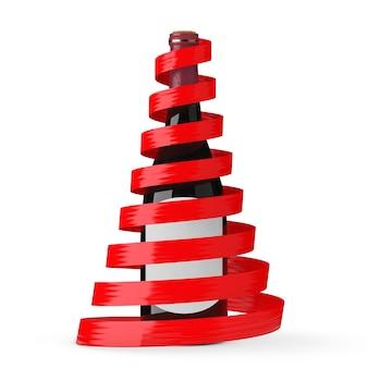白い背景の上の新年の木の形をした赤いリボンであなたのデザインのための白い空白のラベルのモックアップとワインボトル。 3dレンダリング