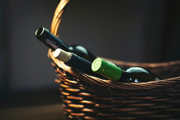 Wine bottles on basket