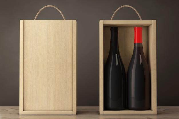 木製のテーブルにハンドル付きの空白の木製ワインパックのワインボトル。 3dレンダリング。
