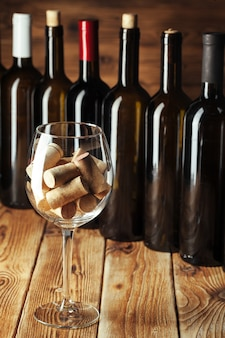 Wine bottles with glass