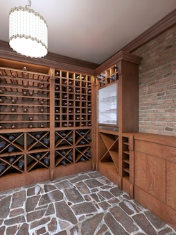 소박한 스타일의 집 지하실에 있는 와인 저장고. 병으로 와인 랙을 엽니다. 3d 렌더링.