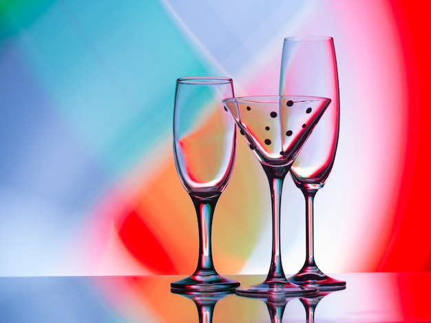 Wine, champagne and coctail glasses