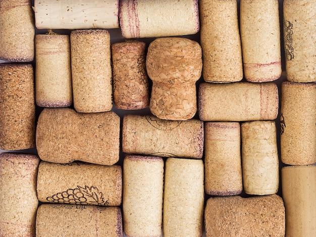 Wine and champagne corks with red stains