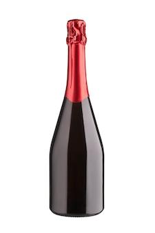 Коллекция вин - бутылка шампанского без этикетки. изолированные на белом фоне