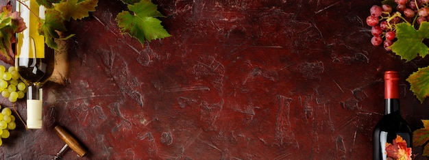 Wine composition on rustic background