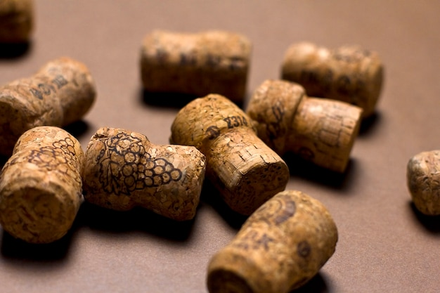 Wine corks on a brown background