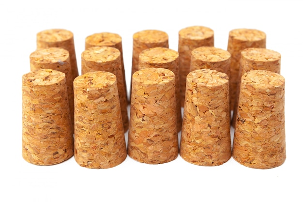 Wine corks isolated on white background
