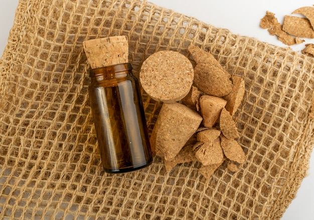 Wine corks and a small glass bottle