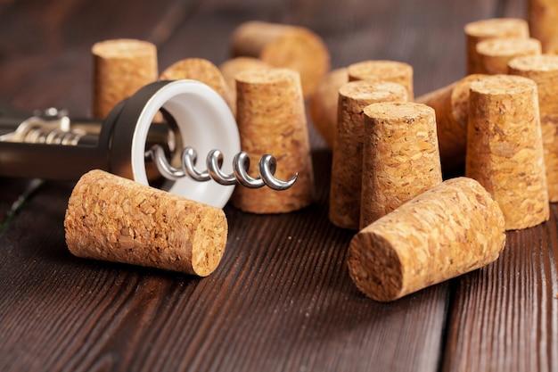 Wine corks with corkscrew
