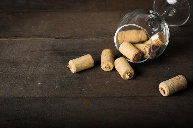 Wine corks on wood