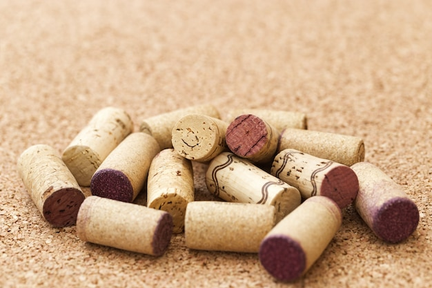 Wine corks on wooden surface for wine list