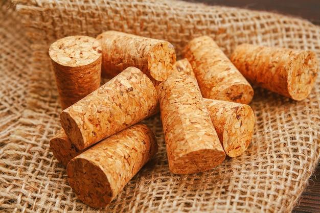 Wine corks on wooden