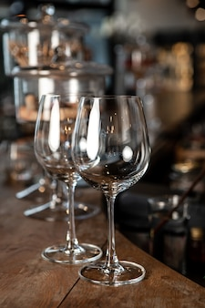 Wine glass on bar night club or party