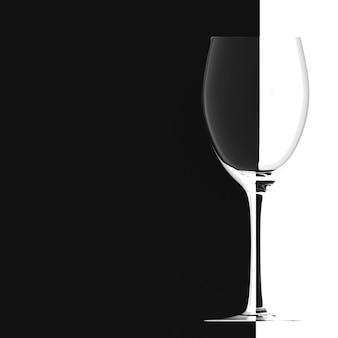Wine glass on black white background, banner with free space for text
