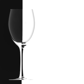 Wine glass on black white background, banner for yours with place for text