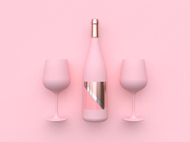 Wine glass wine bottle 3d rendering