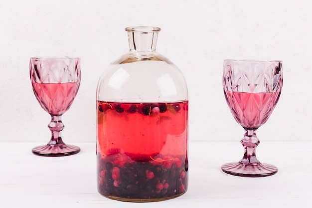 Wine glasses with drink and compote