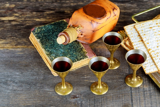 Wine and matzoh jewish holiday, holiday symbol jewish passover bread