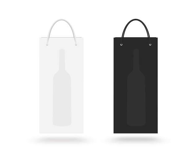 Wine paper bag isolated