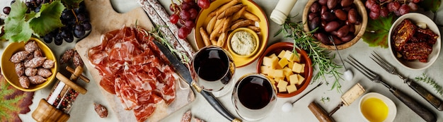 Wine and tapas, top view