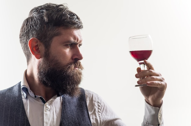 Wine tasting red wine man with alcohol bearded man with glass of wine man drinks red wine man with