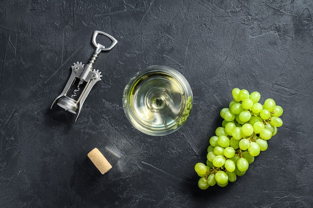 Wineglasses with grapes and corks. concept of wine making
