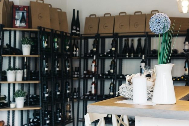 Wineshop with a wide selection of wine bottles