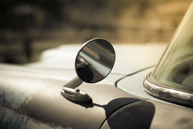 Wing mirror on old car