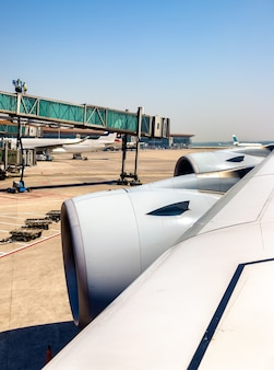 Wing with engines of airbus a380 at beijing capital airport - china