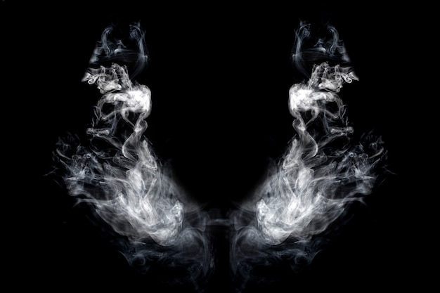 分離された黒の背景に煙の翼