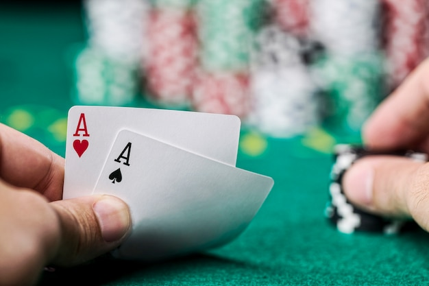 Wining poker hand, with chips
