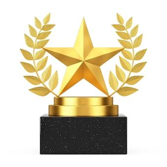 Победитель награды куб золотой лавровый венок подиум, сцена или пьедестал с золотой звездой награды на белом фоне. 3d рендеринг