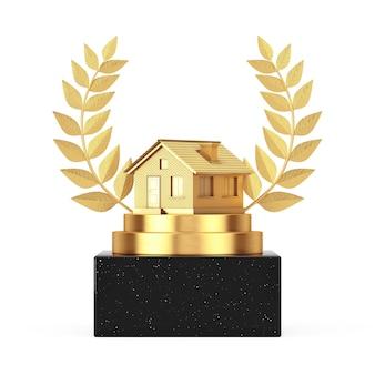 受賞者賞キューブゴールドローレルリース表彰台、ステージまたは台座、白い背景にゴールデンコテージハウスビル。 3dレンダリング