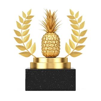 Победитель награды куба золотой лавровый венок подиум, этап или пьедестал с золотыми свежими спелыми тропическими фруктами ананаса здорового питания на белом фоне. 3d рендеринг