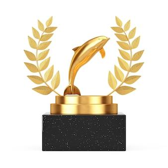 Winner award cube gold laurel wreath podium, stage or pedestal with golden tursiops truncatus ocean or sea bottlenose dolphin on a white background. 3d rendering