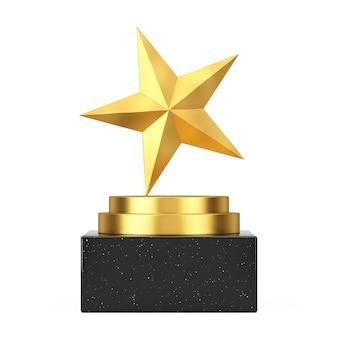 Победитель премии куба золотой подиум, сцена или пьедестал с золотой звездой награды на белом фоне. 3d рендеринг