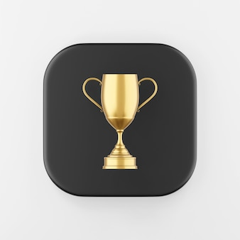 Winner gold trophy icon. 3d rendering black square button key, interface ui ux element.