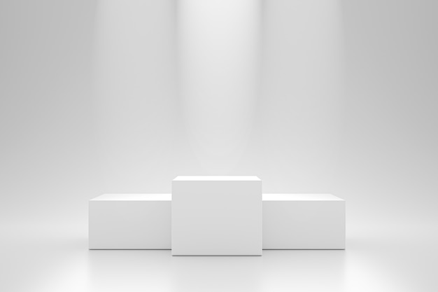 Winner podium and blank stand on pedestal wall with spotlight product shelf. blank studio podium for advertising. 3d rendering.