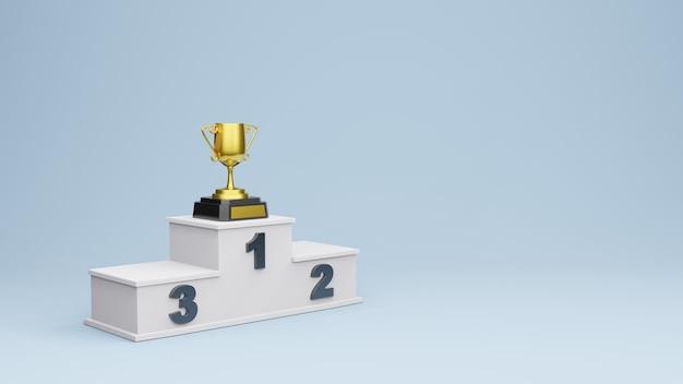 골드 트로피 컵 3d 렌더링으로 우승자 연단