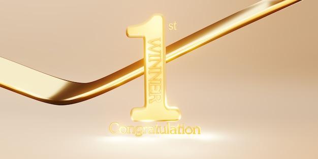 Победитель текстовый фон 1-е место победа и поздравительное сообщение 3d иллюстрации