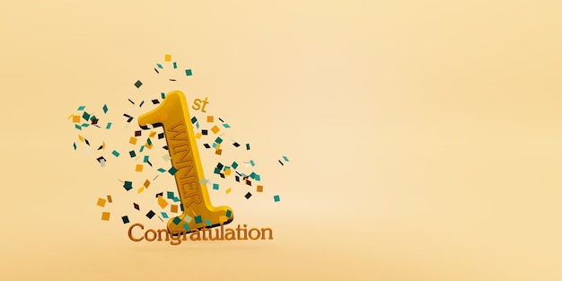 Winner text background 1st place victory and congratulatory message 3d illustration